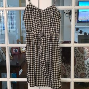 Moon River Buffalo Plaid Dress Lace Up Top